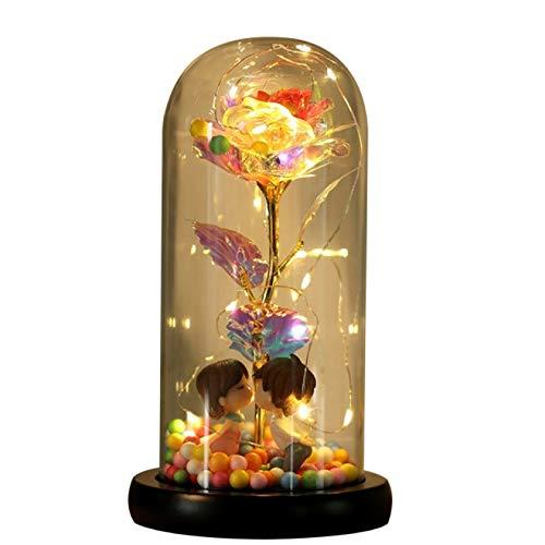 Flor eterna Colorida Hoja de Oro de 24 Quilates Color de la Flor Imitación de Oro Rosa Inmortal sin batería Joyería