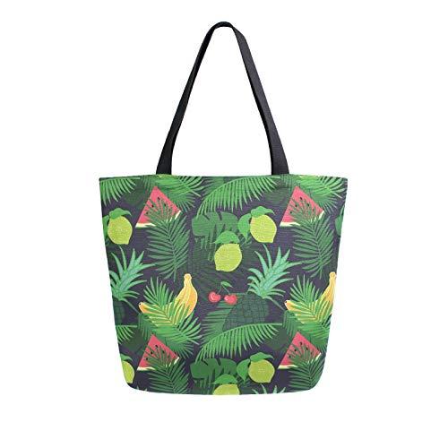 Ahomy Reusable Canvas Grocery Tote Bags, Watermelon Pineapple Palm Leaf Women Handbag Shopping Tote Work School