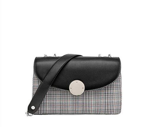WLQNAME Damentasche, Umhängetasche mit Wildkette kleine quadratische Tasche mit klassischem Karomuster (Farbe : Round Lock, Größe : 21 * 13.5 * 8.5cm)