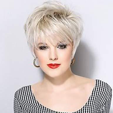 Femme Perruques capless ¨¤ cheveux humains Noir Naturel Auburn Blanc Beige Blonde // Blond Platine Court Ondulation Naturelle Coupe Lutin, white