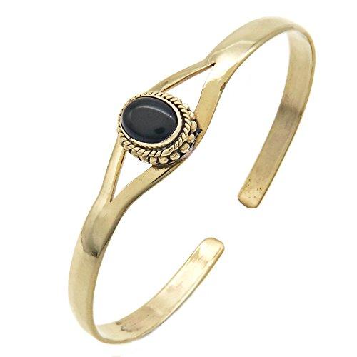 mantraroma Armreif Armband Messing golden Onyx schwarz (932-05-011-03)