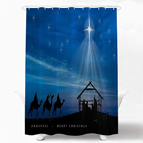 Shrahala Christmas Baby Decorative Shower Curtain, Scene with Three Wise Men Shower Curtain for Shower Stall Bathtubs Bathroom Waterproof Funny Shower Curtain with Grommets 72x72 Inch
