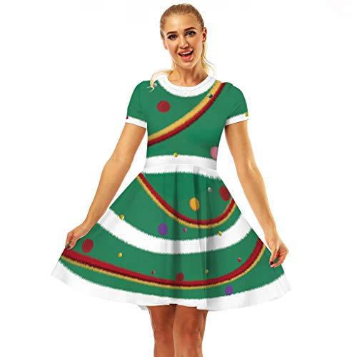 BOLANQ Frauen Schneemann Print Kleid Weihnachten rot 1950er Jahre gestreiften Kurzarm Print Vintage Kostüm Swing Party Kleid