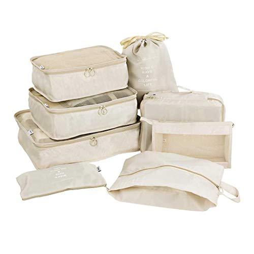 Koffer Organizer Set 8-teilig Gepäck Organizer Kleidertaschen Reisen Organizer Packing Cubes Aufbewahrungstasche Kleidertaschen-Set Gepäck Organizer für Kleidung Kosmetik Schuhbeutel (Beige)