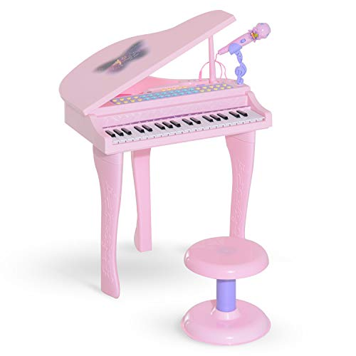 Hocom Piano infantil 37 Teclas Órgão Piano c/ Microfone Banquinho Luzes 22 Canções USB/MP3 Karaoke