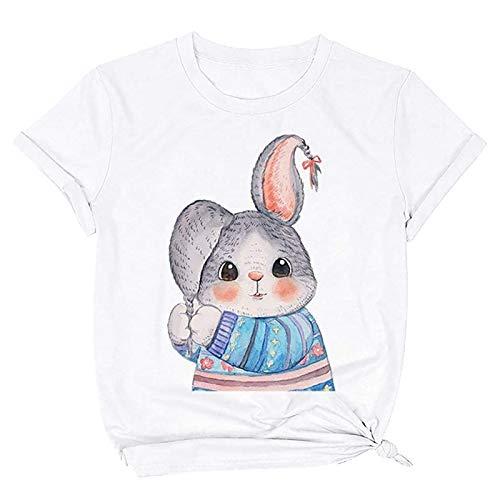 Kurzarm Tee Tops Casual Rundhals Shirt Hemd Bluse für Frauen Teenager Mädchen,Frauen lässig Ostern schöne Kaninchen Druck lose Bequeme Tops T-Shirt Bluse(Weiß:S)