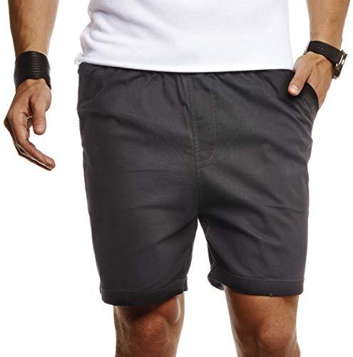 Leif Nelson Herren Kurze Hose für Sommer Slim Fit Kurze Chino Herren Shorts Hose für Männer Kurze Jogginghose Sommer Kurze Chinohose für Freizeit Cargo schwarz Bermuda LN8290 Schwarz Medium