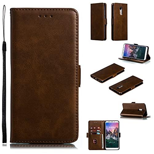 SZCINSEN Funda tipo cartera para teléfono Xiaomi Redmi 5Plus, Premium Vintage PU Cuero Wallet Case con Kickstand correa de muñeca
