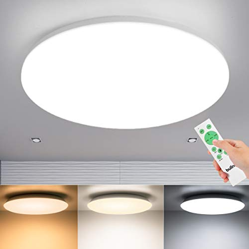 BULING LED Deckenleuchte Dimmbar, 36W Runde Deckenlampe, Mit Fernbedienung, 3000-6500K Warmweiß Naturweiß Kaltweiß, Ø390x50mm, Für Wohnzimmer Bad Küche Schlafzimmer Esszimmer Balkon Büro