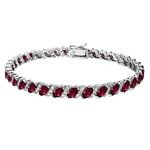 GemStar USA Sterling Silver Created Ruby Marquise-Cut Tennis Bracelet with White Topaz Accents