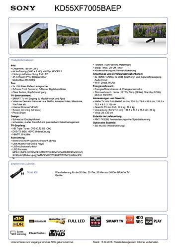 TV LED 4K 139 cm Sony KD55XF7005BAEP - Téléviseur LCD 55 pouces - TV Connectée : Smart TV - Netflix - Tuner TNT/Câble/Satellite