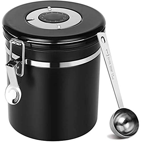 Zhenwo Coffee Canister, Coffee/Coffee Canister Made of Stainless Steel Airtight Scented Jar, Storage Jar, Vacuum,Schwarz