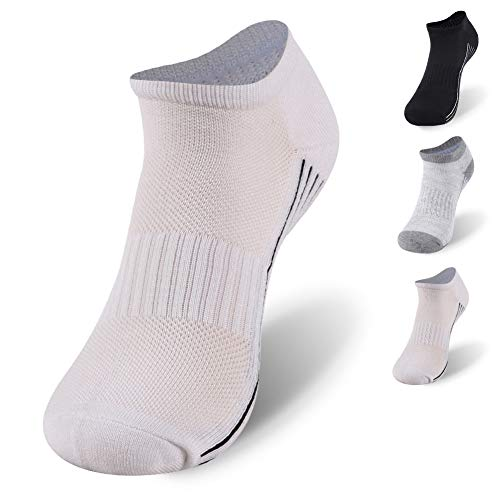 Bamboo Socks Golf, Sunew Womens Summer Moisture Wicking Indoor Athletic Ankle Socks,Thick Cushioned Low Cut Socks No-Show Hiking Running Tennis Anti Slip Socksfor Home 1 Pairs White L