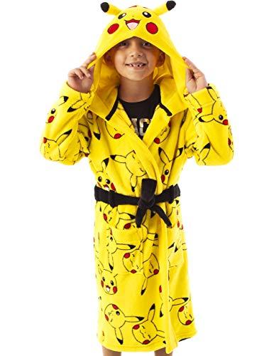 Pok魯n Peignoir Pikachu Face Jaune Poche Enfants Peignoir, Jaune, Taille 9-10 ans