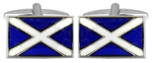 Bleu / Blanc Drapeau écossais boutons de manchette de David Van Hagen