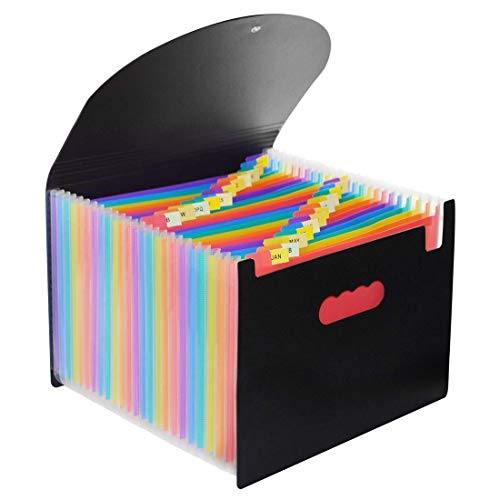 Z-SEAT 24 Pocket Extended File Folder with Lid, Qefuna A4 Letter Size Expandable File Storage Box with Lid, Can Carry Rainbow File Folder,Monthly Self-Supporting Accordion File Manager
