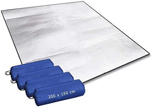 Aehma Estera aislante de aluminio para dormir para camping, 200 x 150 cm, esterilla aislante plegable, esterilla térmica de aluminio, ultraligera (plata, 200 x 150 cm)