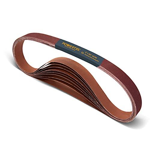 POWERTEC 11127-1 1 x 30 Inch Sanding Belts | Aluminum Oxide Sanding Belt Assortment | 3 Each of 60 80 120 150 240 400 Grits | Premium Sandpaper – 18 Pack