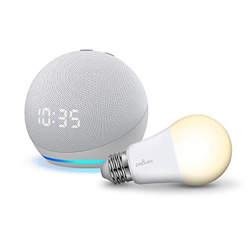 Echo Dot with Clock (4th Generation) with Sengled Bulb, White (Electronics)