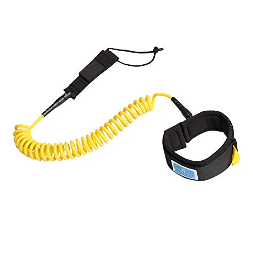 OCEANBROAD 10' Coiled Leash for Paddle Board Surfboard SUP Leash Leg Rope with Adjustable Thigh Ankle Cuff