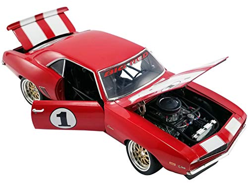 """1969 Camaro #1""""Big Red Camaro Red with White Stripes The Original Outlaw Racer Limited Edition to 1,050 Pieces 1/18 Diecast Model Car by GMP 18882"""