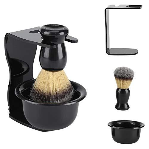 POFET Juego de brochas de afeitado profesional 3 en 1 con base de marco de afeitado, cuenco de jabón, cepillo de afeitado de pelo de tejón para hombres, padre, marido, novio