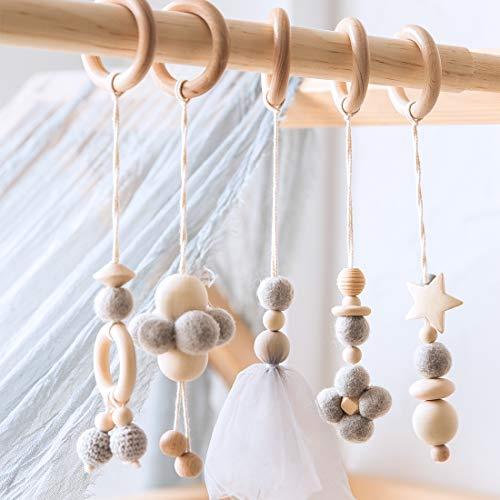 Mamimami Home Baby-Spiel-Turnhalle-Spielwaren-Satz von 5pc Hängendem Hölzernem Spielzeug | Organic Nursing Environmental Sense Sensory Toys | Modernes Babyspielzeug