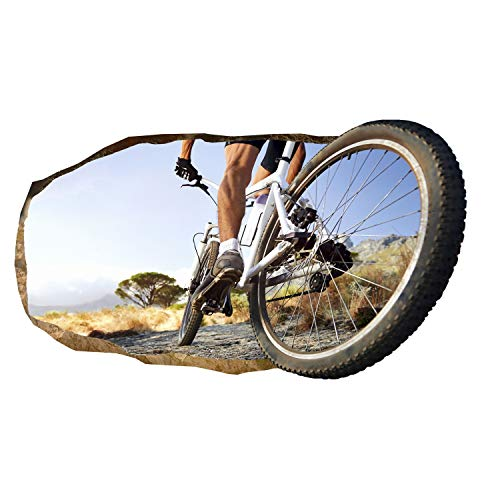 Startonight 3D Mural Wall Art Photo Decor Bike Wheel Amazing Dual View Surprise Large Wall Mural Wallpaper for Living or Bedroom Sport Collection Wall Art 120 x 220 cm
