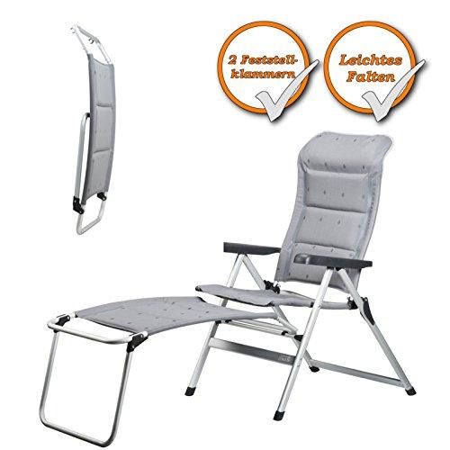 Faltbare Fußablage zur Erweiterung Ihres Gartenstuhles zu einem bequemen Liegestuhl, grau