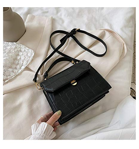 Hzryc Stone Patent White Crossbody Bags For Women Small Handbag Small Bag PU Leather Bag Ladies Evening Bags,Black,17 * 21 * 8cm