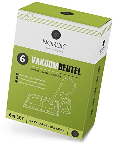 NORDIC® - Vakuumbeutel 6x XXL (130x90cm) - BPA Frei INKL. ETIKETTEN - Vakuumbeutel für Bettdecken, Gartenpolster und vieles mehr I Vakuumierbeutel Wiederverwendbar I Vacuum Bags I Vakuum Staubsauger