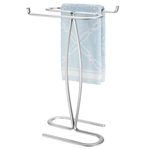 mDesign Decorative Modern Metal Fingertip, Hand Towel Holder Stand - for Bathroom Vanity Countertops to Display and Store Small Guest Towels - 2-Sided, 14' High - Chrome