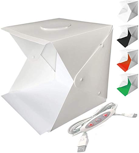 WANBY Foto Studio Zelt Mini Faltbares Fotostudio Tragbares Lichtbox Kit mit LED Lichtzelt Einstellbare Helligkeit 2 LED Leuchten und 4 Stück Farb Hintergrund (30x30 cm / 12x12 Zoll)