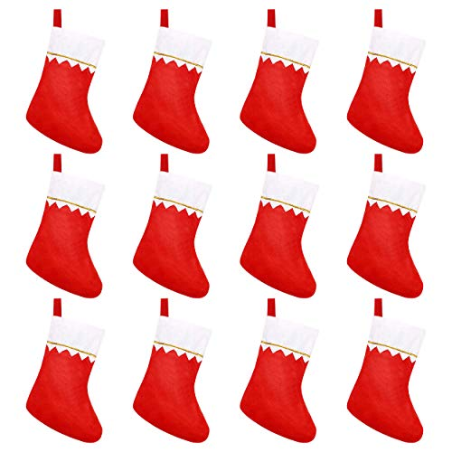 CCINEE 12pcs Felt Christmas Stockings for Christmas Fireplace Hanging Stocking Red Non-Woven Fabric with Golden Trim