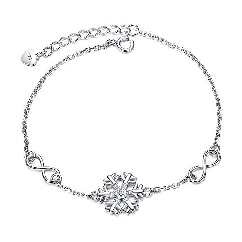 EVER FAITH Winter Schneeflocke Armkette Armband / 925 Sterling Silber CZ / 8 Form Unendlichkeit Armreif/einstellbare Kette für Frauen Mädchen