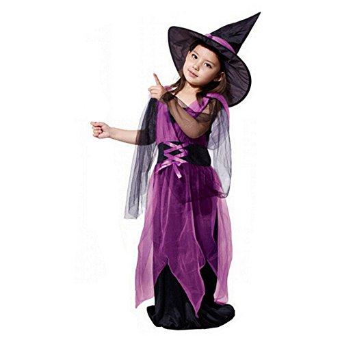 Fossen Disfraz Halloween Niñas 2-15 Años Vestidos y Sombrero Bruja Ropa Costume Vestirse (12-13 años, Púrpura - Bruja)