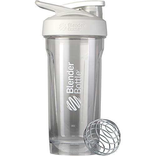 BlenderBottle Strada Tritan Shaker Bottle with Locking Lid, 28-Ounce, White