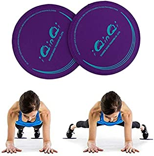 iQinQi Core Exercise Sliders Fitness Workout Sliding Discs Use on Hardwood Floors, Total Body Gym Exercise Equipment for Home, Travel