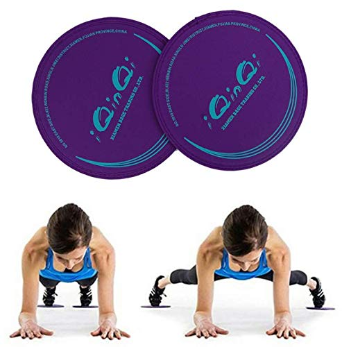 iQinQi Exercise Glider Discs, Exercise Core Sliders for Working Out, Dual Sided Sliding Discs Use on Hardwood Floors, Workout Discs Abdominal & Total Body Gym Exercise Equipment for Home (Purple)