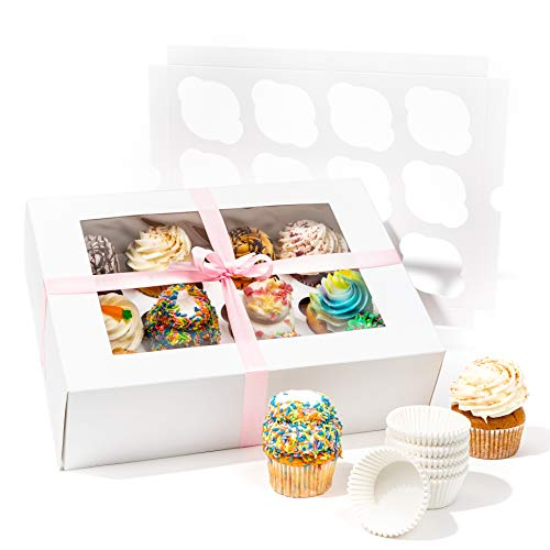 Bakery Cupcake Boxes and Cake Carrier 12 Treat Holder Storage Boxes - Disposable Bakery Box with Clear Window 12 Removable InsertsHolders for a Dozen Cupcakes 144 Cup Cake Baking Cups and Ribbon