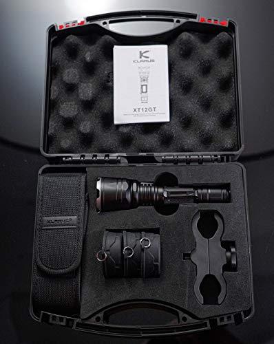 Klarus Pack XT12GT+ 1600 lumenes | Linterna Largo Alcance LED de 1600 lumenes + Maletin + Filtros, alcance max 603mts, IPX8, batería 18650 recargable de 3600mAh con carga magnética externa