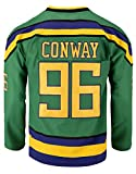 Youth Mighty Ducks Movie Shirts Ice Hockey Jersey (96 Conway Green, Large)
