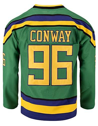 Youth Mighty Ducks Movie Shirts Ice Hockey Jersey (96 Conway Green, Small)