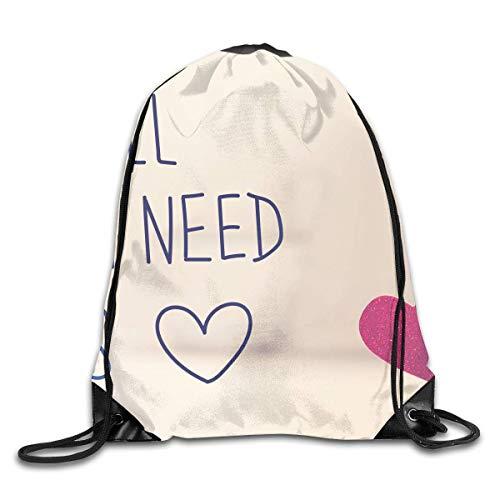 Etryrt Mochilas/Bolsas de Gimnasia,Bolsas de Cuerdas, All We Need is Love Drawstring Backpack Bag Shoulder Bags Gym Bag for Adult