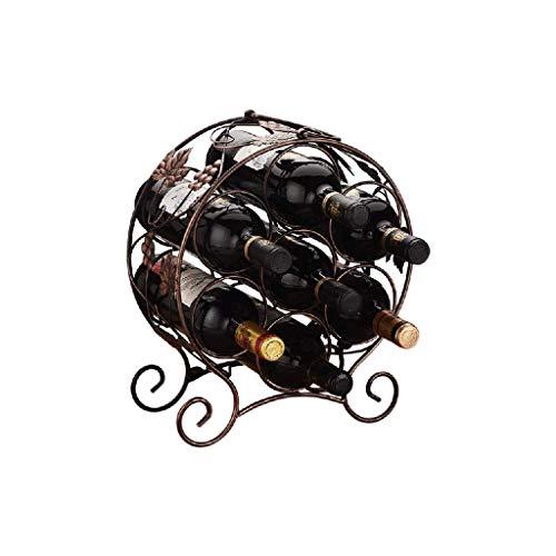 NXYJD Iron & Wine Rack encimera con Patas de Metal Estante del Vino de Mesa Vino de Almacenamiento sostenedores Soportes