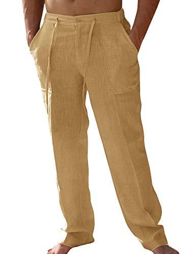 Pxmoda Leinenhosen Herren Freizeithose Lang Leichte Sommerhose Strandhose Leinen Kurze Hosen Herren Lässige Freizeithose mit Seitentaschen 1 - Khaki XL