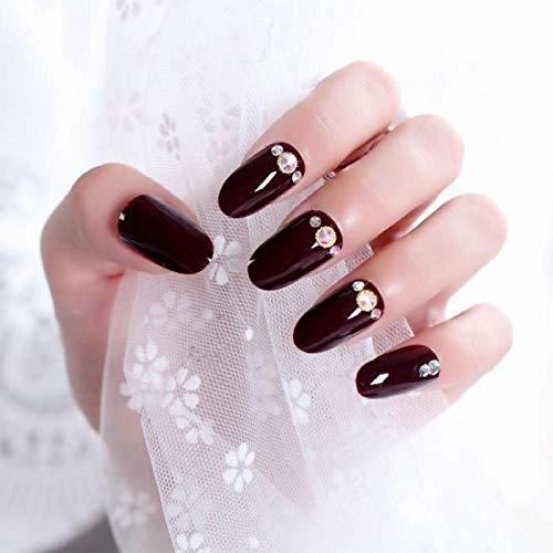 MXLYR Uñas postizas 24 unids/caja de uñas brillante novia brillante diamante medio cabeza redonda uñas postizas producto terminado belleza puntas de uñas