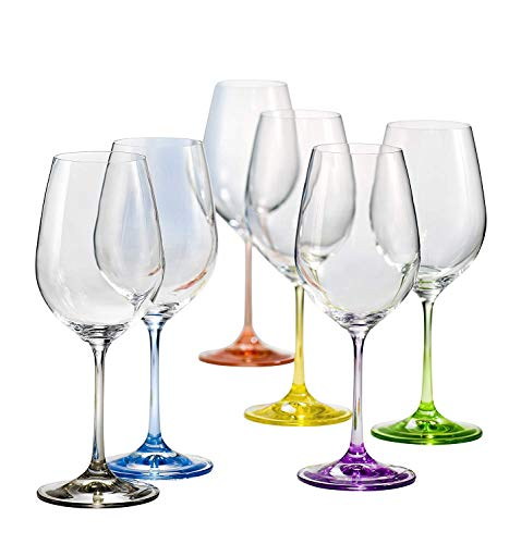Bohemia Cristal 6 Copas de vino Rainbow color, 350 ml