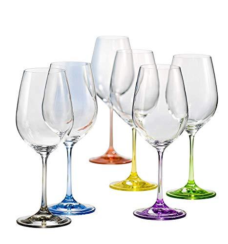 Copas Vino Cristal Colores Marca Bohemia