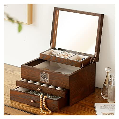 Cajón de almacenamiento Exquisito caja de joyería de madera Caja de almacenamiento de tipo cajón con espejo de maquillaje Pendientes de gran capacidad de 4 niveles Caja de almacenamiento de joyas Caja